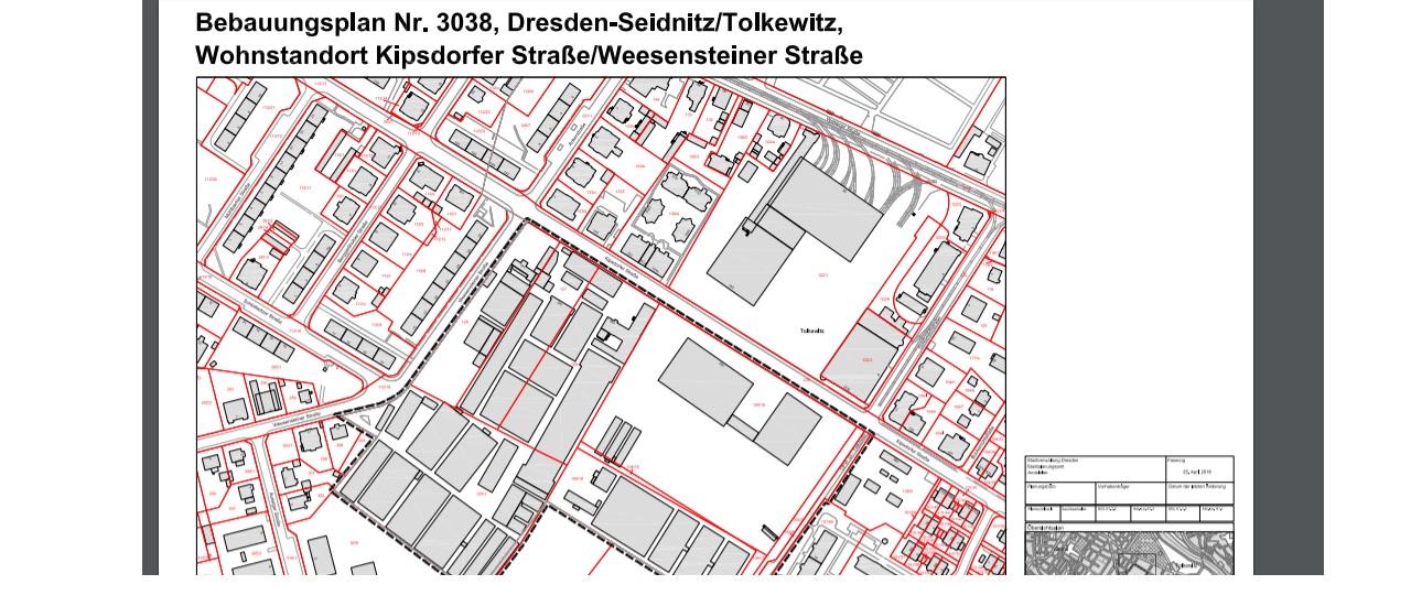 Bebauungsplan Nr. 3038, Dresden-Seidnitz/Tolkewitz, Wohnstandort Kipsdorfer Straße/Weesensteiner Straße